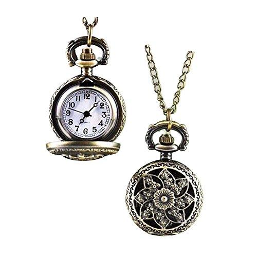 GlobalDealRetro Vintage Steampunk Quartz Necklace Carving Pendant Chain Clock Pocket Watch