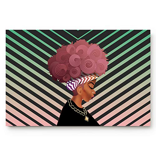 Fafahome Women Black Doormat African Women with Pink Hair Hairstyle Striped Decor Welcome Floor Mat for Living Dining Dorm Room Bedroom Home, 18 x 30 Inch]()