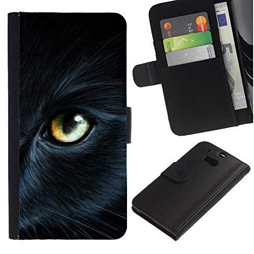 EuroCase - HTC One M8 - Bombay eye cat fur pet mysterious - Cuero PU Delgado caso cubierta Shell Armor Funda Case Cover