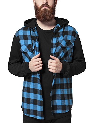 Urban Camisa Blk Flanell Classics Checked 288 para Sleeve Tur Mehrfarbig Hombre Shirt Hooded Sweat Bl ArTgBqwAx