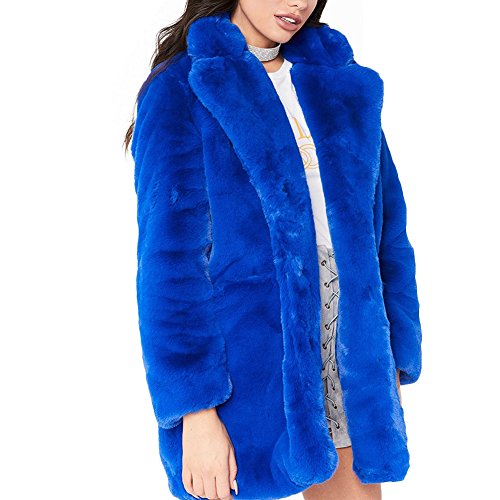 Joseph Costume Winter Faux Fur Coat For Women Long Sleeve Lapel Warm Outwear Cardigan Overcoat Jacket Outfit Blue M - Blue Fox Fur Coat Jacket