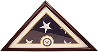 product image for Navy Flag Display Small Case Box, 5x9 Burial - Funeral - Veteran Flag Elegant Display Case with Flat Base, Solid Wood