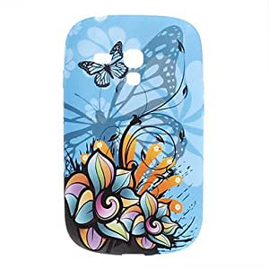 PEACH- Butterfly Pattern TPU Soft Case for Samsung Galaxy S3 Mini I8910