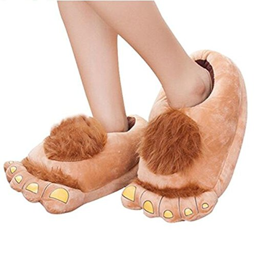 [Furry Monster Adventure Slippers, Comfortable Novelty Warm Winter Hobbit Feet Plush Slippers for Adults (SizeM(US5-8.5 EUR 35-42), Brown)] (Brown Hairy Feet)