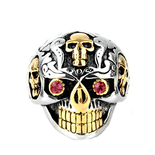 Epinki Mens Accessories Stainless Steel Ring Two-Tone Skull Ring with Pink Eyes Ring Biker Ring Size 12 (Belly Ring Button Viking)