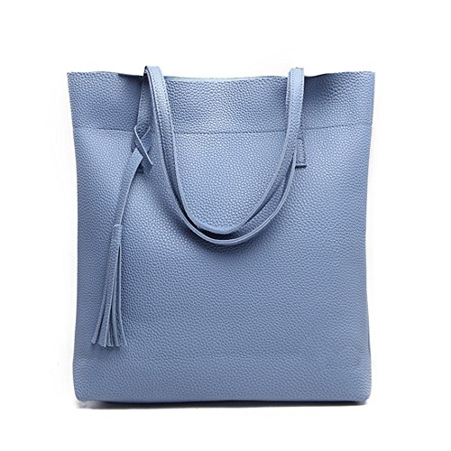 Gwqgz 2018 New Lady's Shoulder Bag Pu Leisure Single Silvery Blue