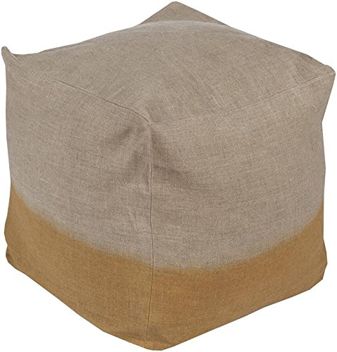 Surya DDPF002-181818 100-Percent Linen Pouf, 18-Inch by 18-Inch by 18-Inch, Light Gray/Gold