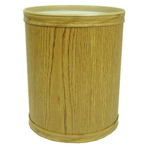 Redmon Renaissance Collection Woodgrain Vinyl Round Wastebasket, Oak ()