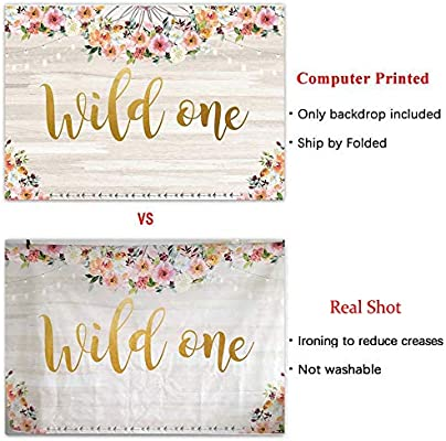 Allenjoy 8x8ft Fabirc Floral Wild One Theme Backdrop Supplies for Girls Newborn Kids 1st Birthday Decoration Boho Animal Tribal Party Photography Background Studio Baby Shower Photo Booth Props Favors