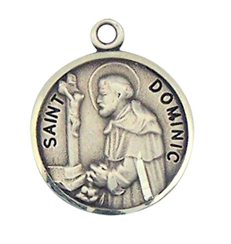 - Sterling Silver Patron Saint Dominic Round Medal Pendant, 7/8 Inch