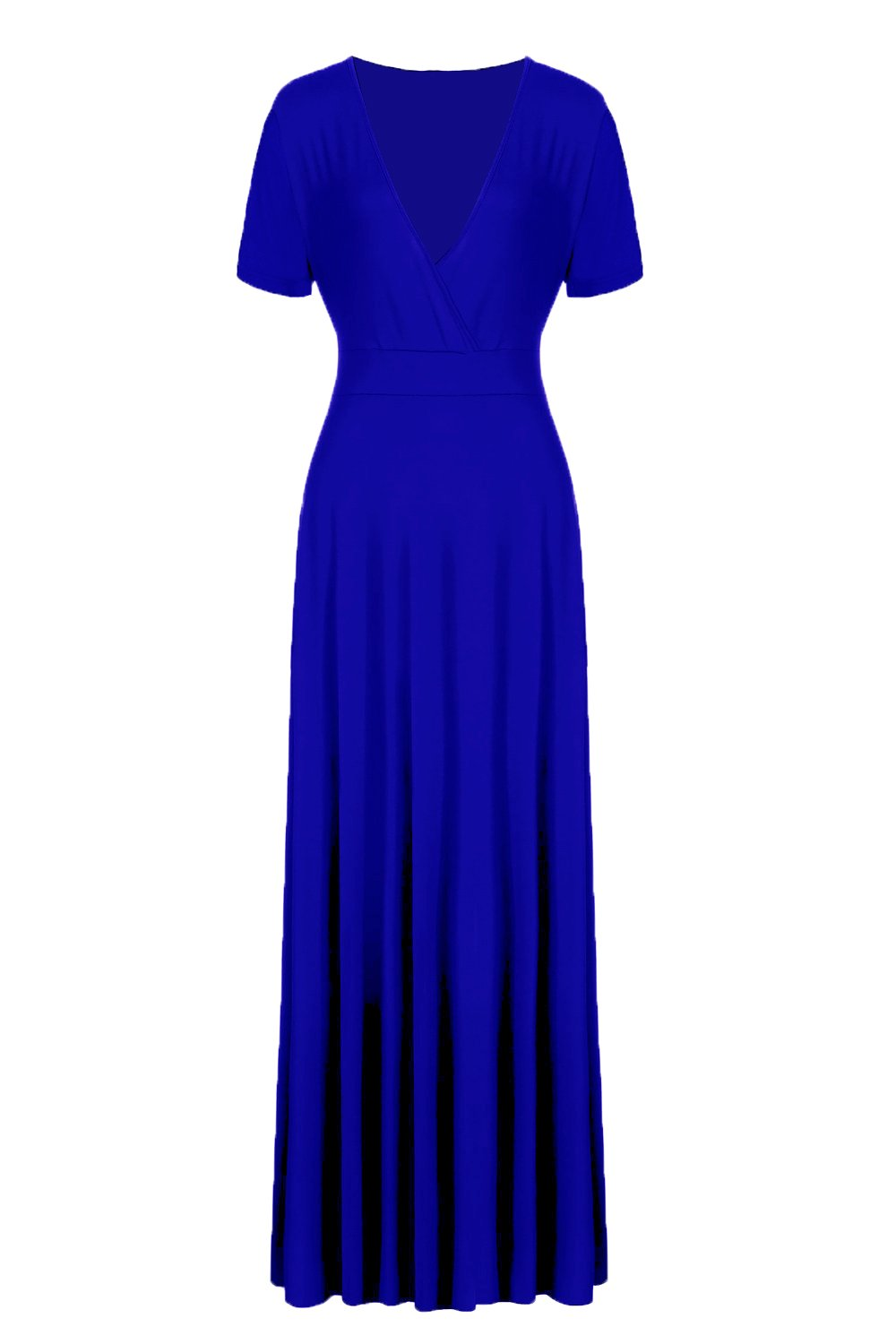 POSESHE Women\'s Solid V-Neck Short Sleeve Plus Size Evening Party Maxi  Dress (3 Plus, Short Sleeve Royal Blue)
