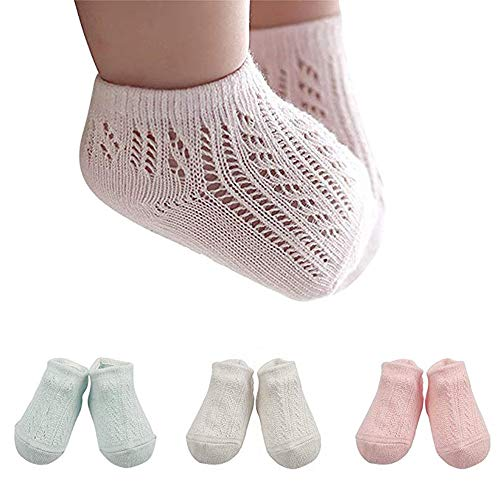 3 Pair Baby Low-cut Non Skid Crew Sock Pastel Solid Thin Mesh Anti Skid Socks for Infant Toddler Boys Girls, 0-4 Years Old (0-2Y) ()