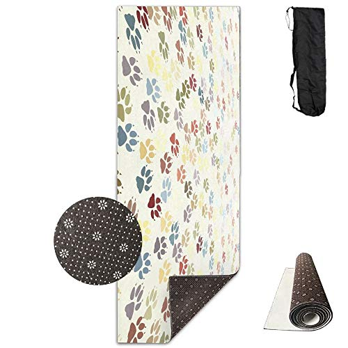 Cute Dog Paws And Bones Deluxe,Yoga Mat Aerobic Exercise Pilates Anti-slip Gymnastics Mats (Antique Wool Blanket)