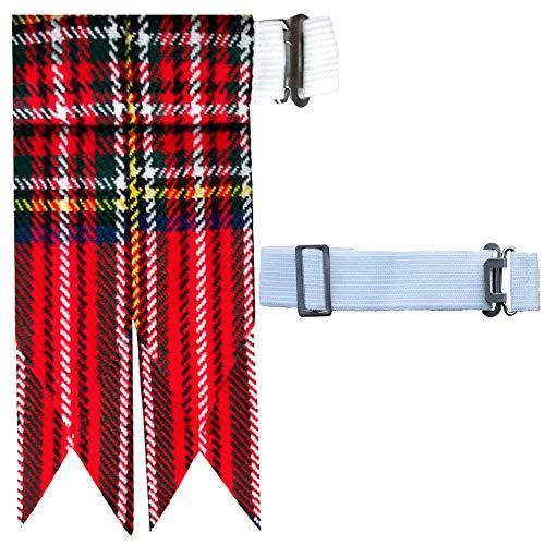 Royal Stewart Kilt - New Solid Plain Black, Royal Stewart Tartan Many More Kilt Flashes Multi Colors (Royal Stewart)