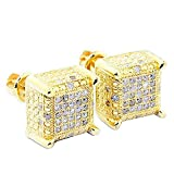 1/4cttw Diamond Earrings Cubes 10k Yellow Gold Square 9mm Wide Screw Back Mens