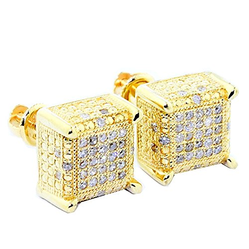 1/4cttw Diamond Earrings Cubes 10k Yellow Gold Square 9mm Wide Screw Back Mens by Midwest Jewellery