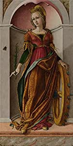 The Linen Canvas of oil painting 'Carlo Crivelli - Saint Catherine of Alexandria,about 1491-4' ,size: 12x24 inch / 30x61 cm ,this High Definition Art Decorative Prints on Canvas is fit for Bathroom decor and Home artwork and Gifts