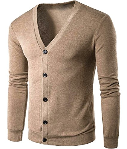 SexyBaby Men Thin Single Breasted Thin Rib Hem Slim Casual Cardigan Coffee (Baby Rib Sleeveless Hoody)