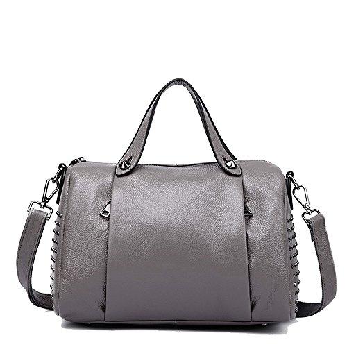 Boston Satchel - Mn&Sue Women's Doctor Style Rivet Studded Genuine Leather Top Handle Barrel Lady Purse Boston Satchel bag (Gray)