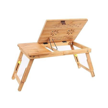 XUERUI Mesas Escritorio Mesa Bandeja 100% Bambú Soporte Plegable ...