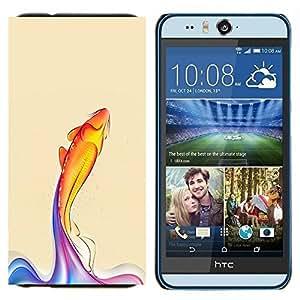 EJOOY---Cubierta de la caja de protección para la piel dura ** HTC Desire Eye M910x ** --Rainbow pescados de Koi