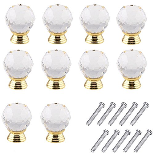 Mosong 10pcs 30mm Glass Clear Cabinet Knob Drawer Pull Handle Kitchen Door Wardrobe Hardware Used for Cabinet, Drawer, Chest, Bin, Dresser, Cupboard, Etc (Clear-Gold) 10 Drawer Chest Dresser