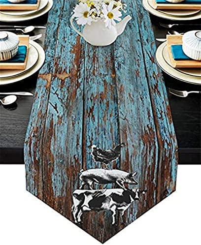 DTKJ Cotton Linen Rectangle Table Runners Farm Rustic Animals Cow Pig Chicken On Vintage Old Wood Plank Party Supplies Decorations(14x72inch)