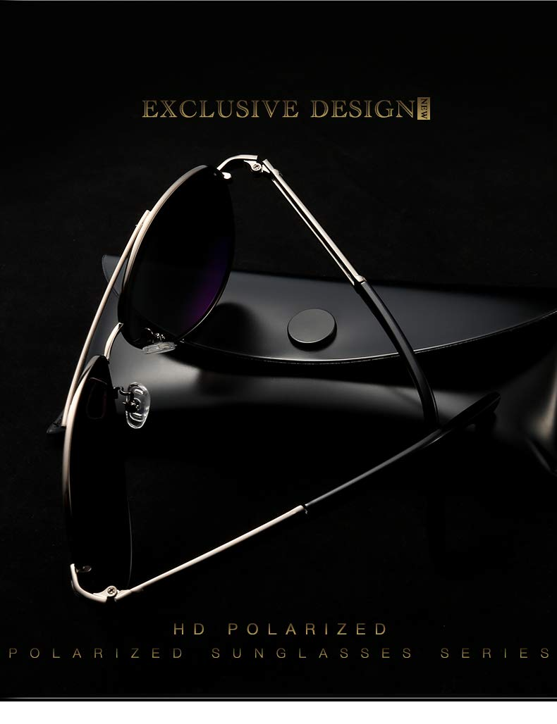 Polarized Aviator Sunglasses for Men- Qidian QD8738 Fashion Aviator Sunglasses, HD Lens Metal Frame, 100% UV400 Protection (Black+Silver)