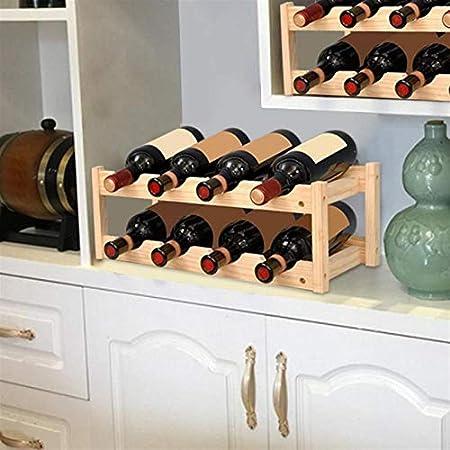 HaushaltKuche 2-Capa clásica de Madera Botellas de Vino Vino Titular de Almacenamiento en Rack 8 del Soporte de la Botella de Almacenamiento en Rack Barra de la Cocina Estante de exhibición Beber