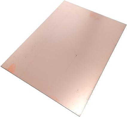 AERZETIX Placa Hojas de Cobre para Circuito Impreso 610//457//0.6mm 18/µm Resina epoxi de Fibra de Vidrio C40574