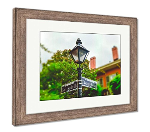 Ashley Framed Prints Bourbon Street New Orleans Ancient Street Lamp and Pointer, Wall Art Home Decoration, Color, 30x35 (Frame Size), Rustic Barn Wood Frame, ()