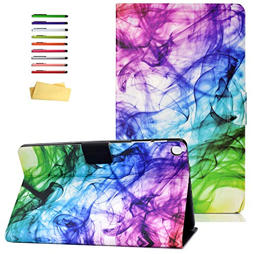 UUcovers Folio Cover for Samsung Galaxy Tab A 10.1 Tablet 2019 Case SM-T510/T515, PU Leather [Multiple Viewing Angles Stand] Magnetic Shockproof Shell with Pocket Card Holder, Colored Ink Painting