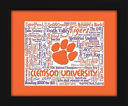 Clemson University 16x20 Art Piece - Beautifully matted and framed behind glass