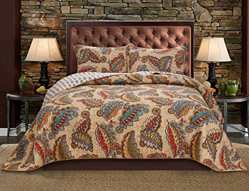 Simiao 100% Cotton Reversible Quilt Set 3 Pieces Bohemian Quilt Bedspread Set – Lightweight Bedding Coverlet Set for All Season, King Size (106″x 96″)
