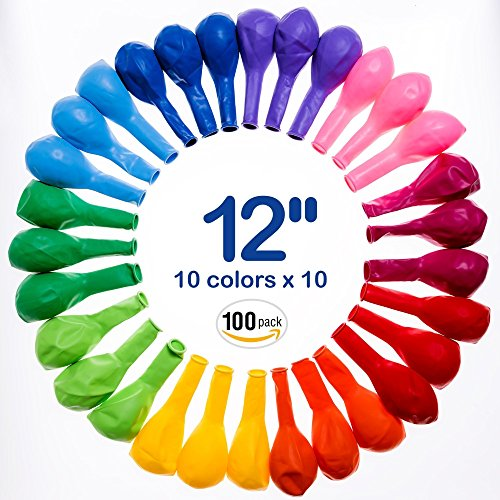 Best Balloons Assorted Color For Party 12 Inches Bulk 100 pcs Helium Quality Latex (Different Color Balloons)
