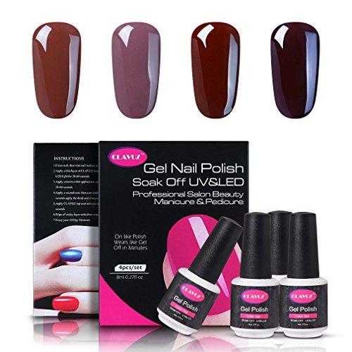 CLAVUZ Soak Of UV LED Gel Nail Polish,4pcs Coffee Colors Col
