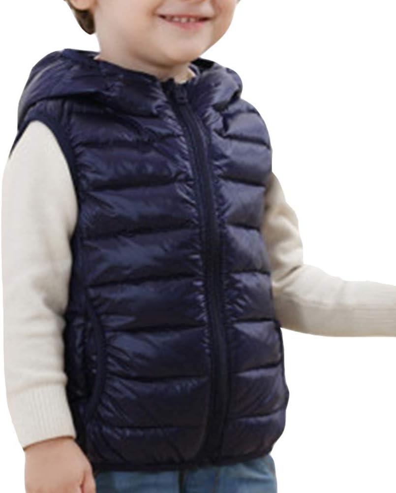 LaoZanA Bambini Piumino Gilet Senza Maniche Cappotto con Cappuccio Ultraleggero
