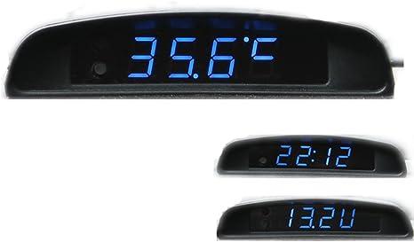PolarLander 12V Voiture 3 en 1 Voiture Horloge Theromometer et Moniteur de Tension Sept Types de Mode daffichage