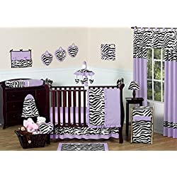 Purple and Funky Zebra Animal Print Baby Girl Bedding 11pc Crib Set without bumper