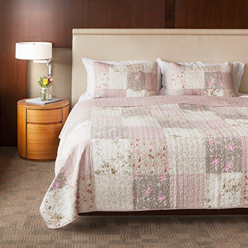 SLPR Secret Garden 3-Piece Real Patchwork Cotton Quilt Set (King) | with 2 Shams Pre-Washed Reversible Machine Washable Lightweight Bedspread Coverlet - Garden Quilt Set