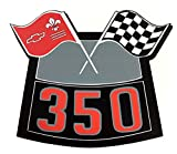 350 FLAGS CHROME AIR CLEANER DECAL CHEVY CAMARO CHEVELLE NOVA TRUCK CAPRICE El CAMINO CORVETTE