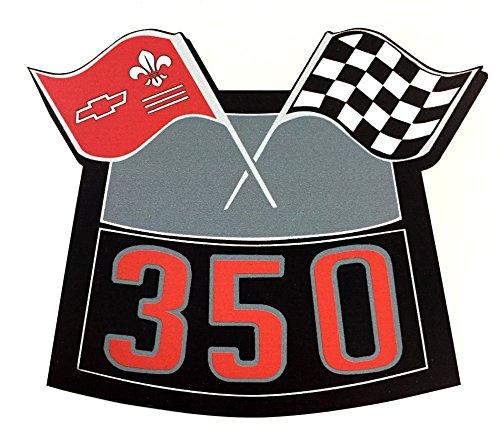 350 FLAGS CHROME AIR CLEANER DECAL CHEVY CAMARO CHEVELLE NOVA TRUCK CAPRICE El CAMINO CORVETTE ()