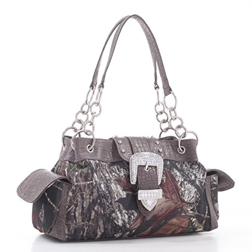 Buckle Tote Bag (Emperia Women's Naomi Mossy Oak Buckle Tote Bag with Rhinestones, Camouflage/Dark Brown Trim, 13.5 x 4.5 x 8-Inch)