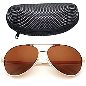 LotFancy Aviator Sunglasses for Women with Case, 61mm Lens, Metal Frame, 100% UV 400 Protection (Gold, Polarized Brown)