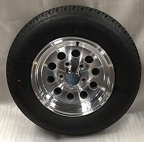 (New 15 Inch 5 Lug Aluminum Trailer Wheel with Tire ST205 75 R15 8 Ply S20 56545T 5 on 4.5)