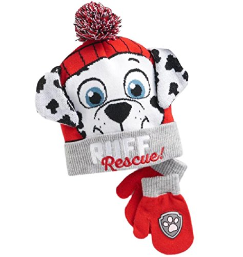 Patrol Mitten (Berk Fashion Paw Patrol Winter Hat and Mittens For Toddler Boys Cold Weather)