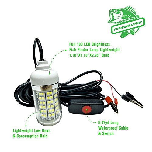 VPROZ-Underwater-Fishing-Green-LED-Light-Full-180-LED-Brightness-Fish-Finder-Lamp-w-547yd-Long-Waterproof-Cable-Switch-Lightweight-Low-Heat-Consumption-Bulb-Great-Tool-For-Fisherman-Angler