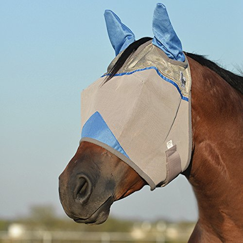 Cashel Crusader Standard Fly Mask With Ears And Blue Trim Benefit Wounded Warriors