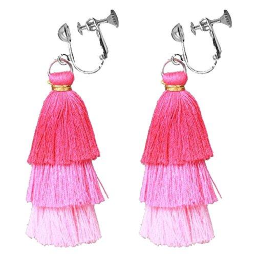 Bohemian Handcraft 3 Color Three Layer Silk Fringe Thread Clip on Earrings for Girls Women Princess Dress