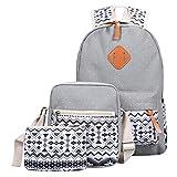 Coohole Girl Canvas Shoulder School Bag Backpack+Crossbody Tote Bag+Clutch Purse (Gray)